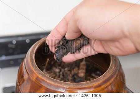 putting herbal to an enamel pot to decoct herbal medicine