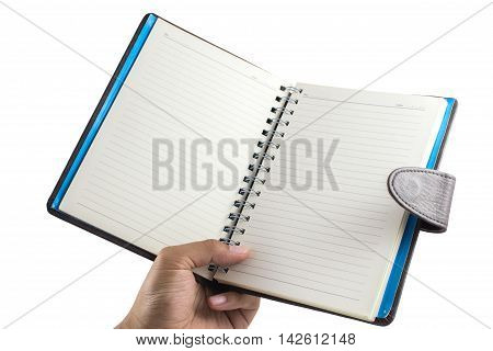 Men's hand holding Notebook isolate on a white background with blank screen and can be add your texts or others on Notebook.Notebook concept.