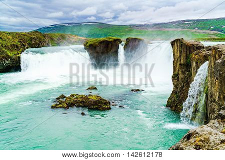 Godafoss or Waterfall of the God is located in the Myvatn district of NorthCentral Iceland