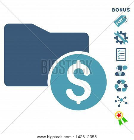 Money Folder icon with bonus pictograms. Vector illustration style is flat iconic bicolor symbols, cyan and blue colors, white background, rounded angles.