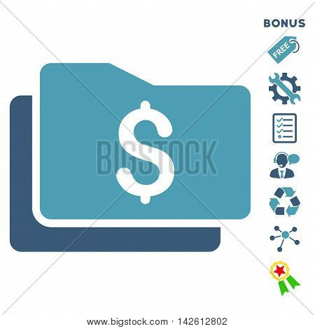 Wallet icon with bonus pictograms. Vector illustration style is flat iconic bicolor symbols, cyan and blue colors, white background, rounded angles.