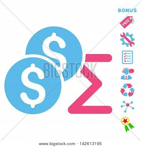 Coin Summary icon with bonus pictograms. Vector illustration style is flat iconic bicolor symbols, pink and blue colors, white background, rounded angles.