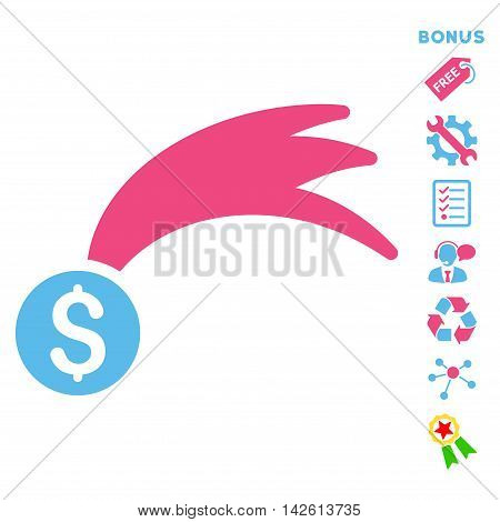 Lucky Money icon with bonus pictograms. Vector illustration style is flat iconic bicolor symbols, pink and blue colors, white background, rounded angles.
