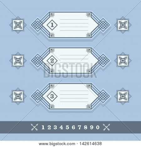 Modern numerical line banners icons set on blue background