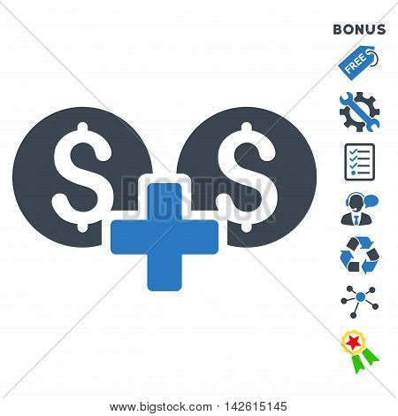 Financial Sum icon with bonus pictograms. Vector illustration style is flat iconic bicolor symbols, smooth blue colors, white background, rounded angles.