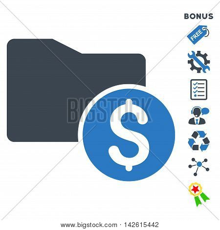 Money Folder icon with bonus pictograms. Vector illustration style is flat iconic bicolor symbols, smooth blue colors, white background, rounded angles.