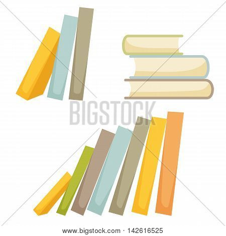 Book stask set. Pile of books isolated on wihte background. Cartoon stack of books icon. Interior decor elements. Decoration for shelves and cabinets