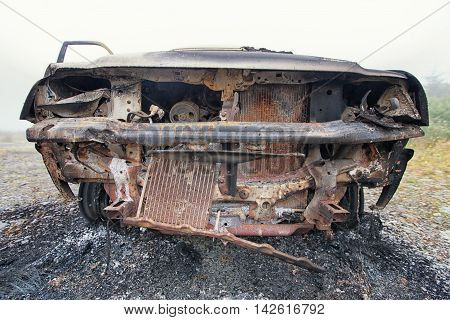 Front View Of A Burnt Out Car