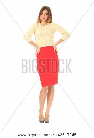 Portrait Of Beautiful Woman In Red Skirt