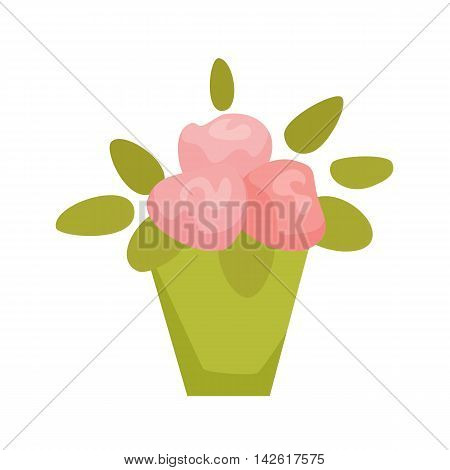 Violet, Cyclamen, Begonia in pot. Interior home and office potted plant. Houseplant cartoon vector illistration. Interior decoration. Flowerpot drowth and gardening.