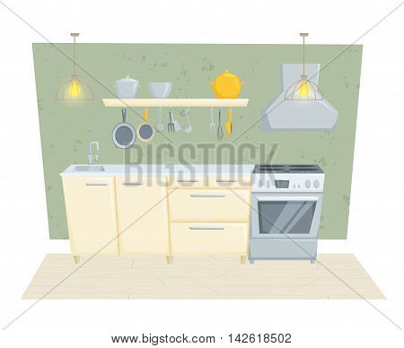 Kitchen interior with furniture and decoration in modern style. Kitchen interior cartoon vector illustration. Kitchen furniture: container, stove, cabinet, shelf. Modern interior