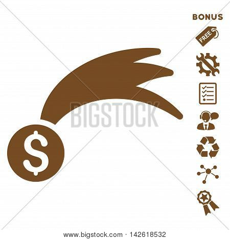 Lucky Money icon with bonus pictograms. Vector illustration style is flat iconic symbols, brown color, white background, rounded angles.