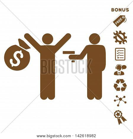 Thief Arrest icon with bonus pictograms. Vector illustration style is flat iconic symbols, brown color, white background, rounded angles.