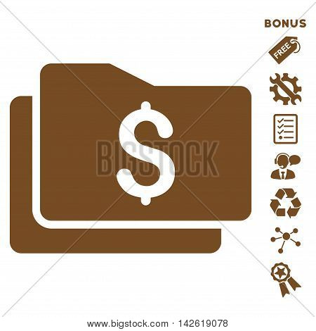 Wallet icon with bonus pictograms. Vector illustration style is flat iconic symbols, brown color, white background, rounded angles.