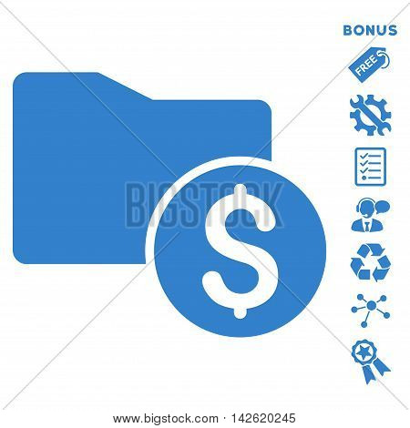 Money Folder icon with bonus pictograms. Vector illustration style is flat iconic symbols, cobalt color, white background, rounded angles.