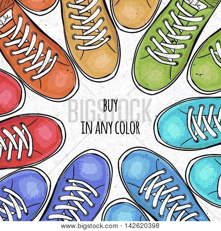 Sportingly colorful poster to advertise sports shoes. Buy sneakers in any color. Vector illustration