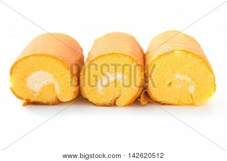 three sweet rolls on a white background