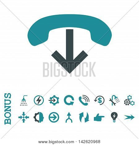 Phone Hang Up glyph bicolor icon. Image style is a flat iconic symbol, soft blue colors, white background.
