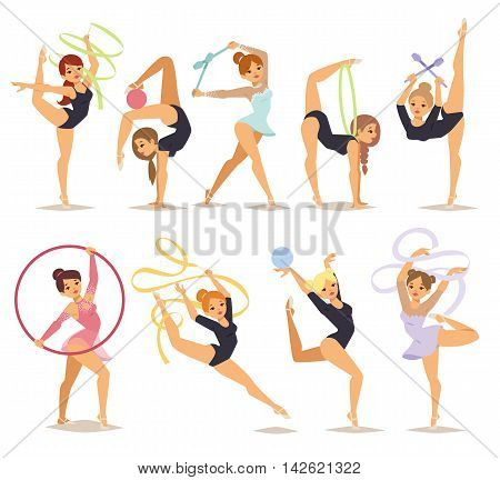 Set color girl figures performing gymnastic exercises with mace hoop and tapes isolated vector illustration. Gymnast girl artistic and rhythmic gymnastic exercise. Gymnast girl young exercise fitness.