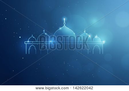 Template giftcard blue background and mosque logo you can put your design.