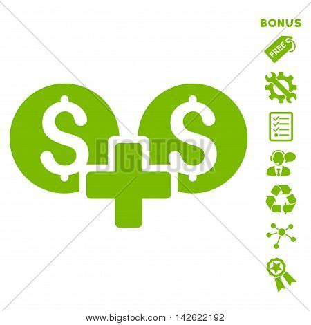 Financial Sum icon with bonus pictograms. Vector illustration style is flat iconic symbols, eco green color, white background, rounded angles.