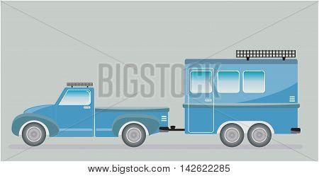 Old Truck And Camping Caravan Car