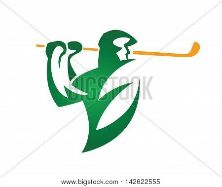 Modern Golf Logo - Green Leaf Eco Golf Symbol