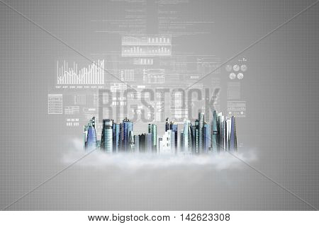 Futuristic city offices and building in grey background