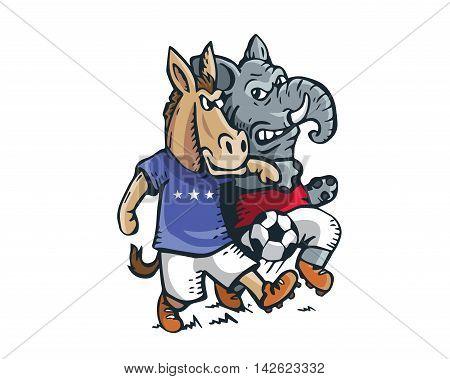 USA Democrat Vs Republican Election 2016 Cartoon -  Political Soccer Competition