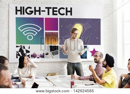 Hi-Tech Technology Cyberspace Network Concept