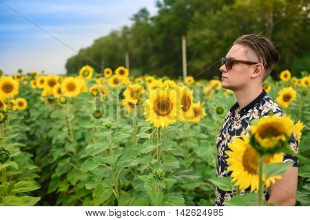 Man in a sunflower field. man is standing in a sunflower field with a blue sky background. Travaling and nature concept.