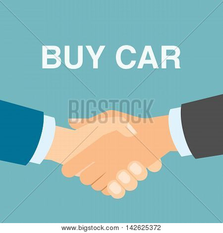 Buy car handshake. Men shaking hands in agreement about buying car. Agency selling cars.