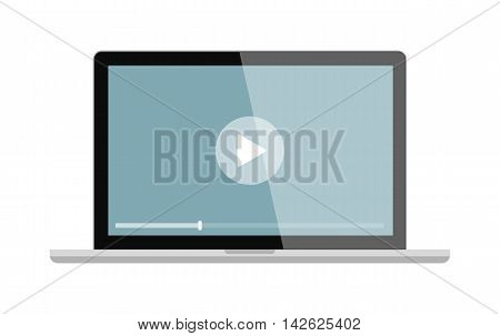 Isolated laptop screen with play button on white background. Concept of video, audio playback, multimedia, stream.
