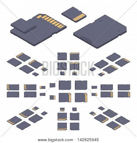 Isometric flat sd memory card. The objects are isolated against the white background and shown from different sides