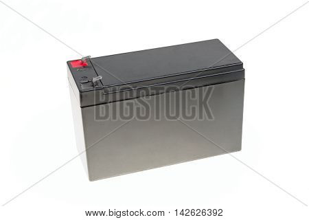 One big black rechargeable battery isolated on white background