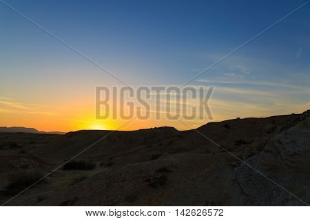 Bright Colored Sunset In The High Mountains