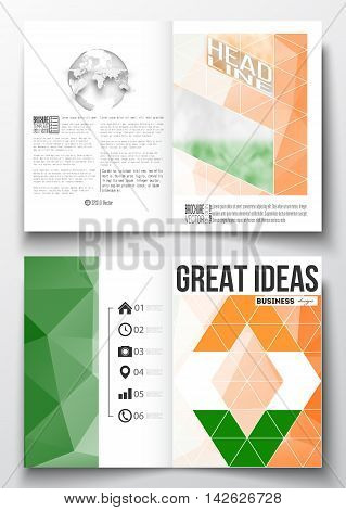 Set of business templates for brochure, magazine, flyer, booklet or annual report. Background for Happy Indian Independence Day celebration with national flag colors, vector illustration.