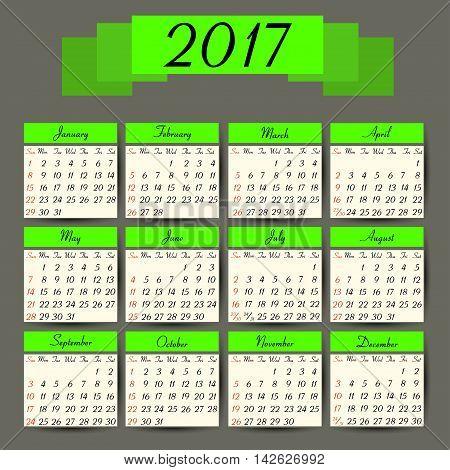 Calendar 2017. Vector calendar template ready to print