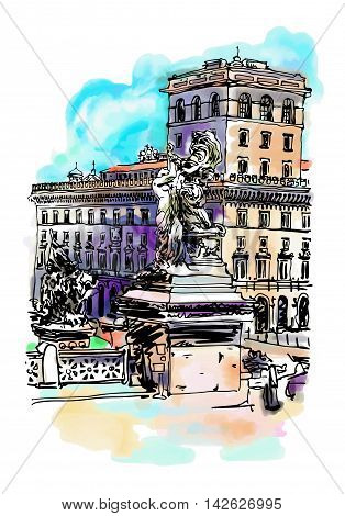 original freehand watercolor travel card from Rome Italy, old italian imperial building and sculpture monument, travel book vector illustration