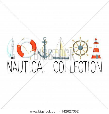 Banner or headline with nautical elements. Template for text. There are lighthouse, sailboat, life buoy, anchor and wheel. Vector illustration.