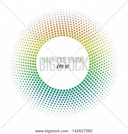 color halftone dotted frame. Round banner. Orange to blue gradient. Stock vector background