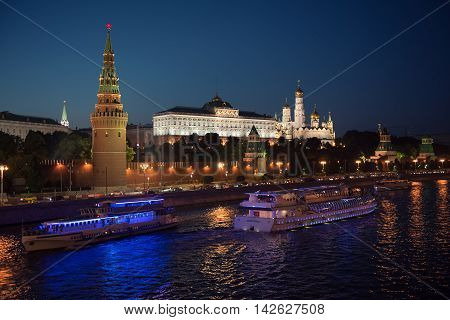 Moscow, Russia - August 06 2016: Kind To The Moscow Kremlin In Night.