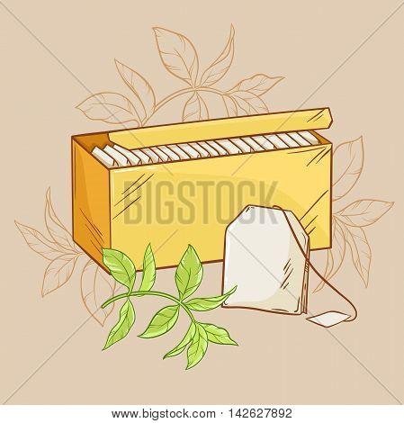 illustration with tea pack,  tea bag and green tea leaves