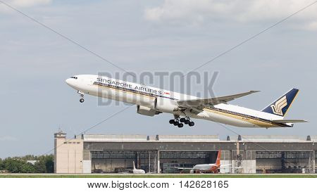 The Moscow region - 31 July 2016: Powerful Airliner Boeing 777-312ER Singapore Airlines taking off at the airport in Moscow's Domodedovo 31 July 2016 Moscow region Russia