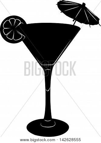 Martini cocktail glass illustration with umbrella and lemon slice. Silhouette in black and white