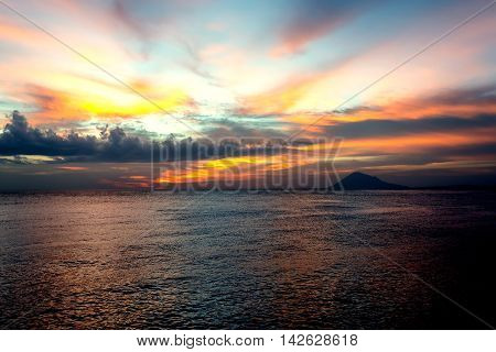 City Manado, North Sulawesi Dramatic Sky And Volcano