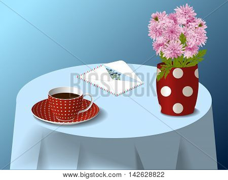 Spotted cup and spotted vase with bouquet of pink chrysanthemums, envelope with greeting card on blue tablecloth, vector illustration