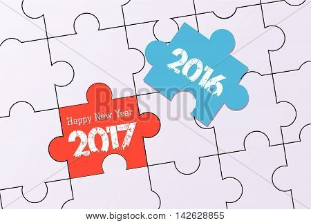 happy new year 2017. word puzzle design
