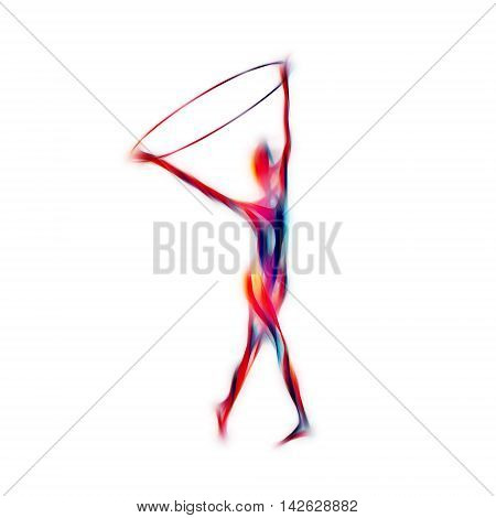 Rhythmic Gymnastics with Hoop black Color Silhouette isolated on white