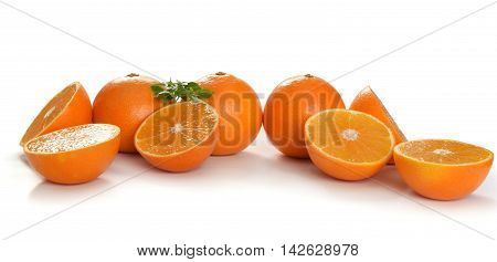 Fresh Orange Slices On White